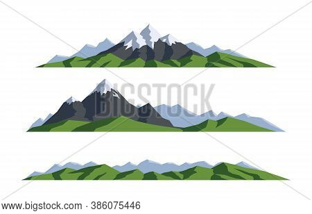 Mountain Landscape. Collection Isolated Vector Illustration. Silhouette Rocks. Panoramic View On Whi