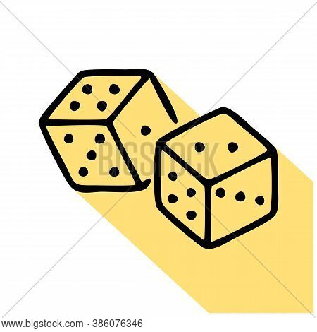 Dice Cubes Line Icon, Vector Pictogram Of Craps Game. Lucky Chance Illustration, Casino Gambling Sig