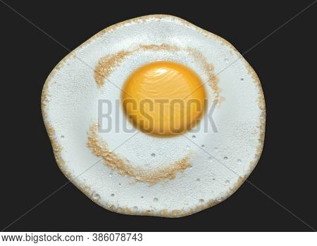 Closeup Of Tasty Indian Half Cooked Egg Omelet, Indian Half Fry Omelet , Isolated Over Black Backgro
