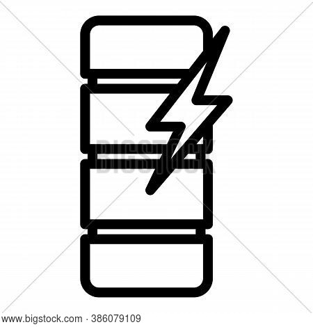 Voltage Charge Battery Icon. Outline Voltage Charge Battery Vector Icon For Web Design Isolated On W