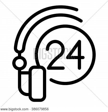 24 Hours Headset Icon. Outline 24 Hours Headset Vector Icon For Web Design Isolated On White Backgro
