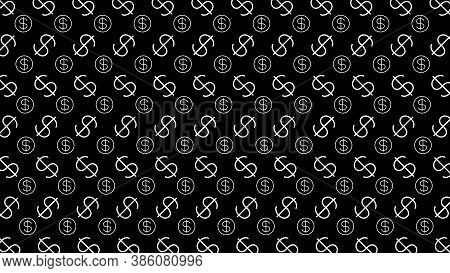 Dollar Money Sign Pattern On Black Background, Dollar Sign Wall Art Pattern, Usd Dollar Currency Sym