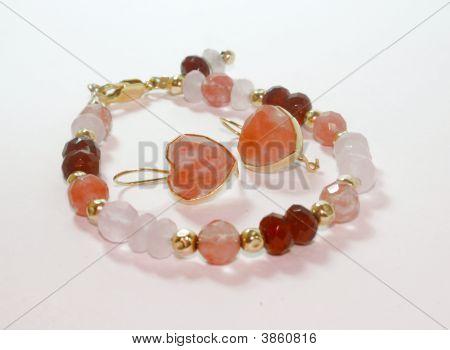 Rose Topaz , Quartz , Granate And Gold Bungles Bracelet And Earrings