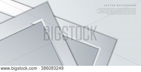 Banner Triangle Arrow Corner Gray Overlapping With Copy Space For Text Design, Gray Background. You