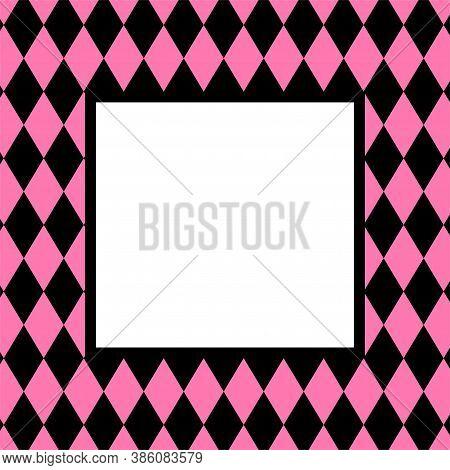 Banner Pink Black Rhombus Pattern For Background, Black Pink Frame For Cosmetics Banner Background,