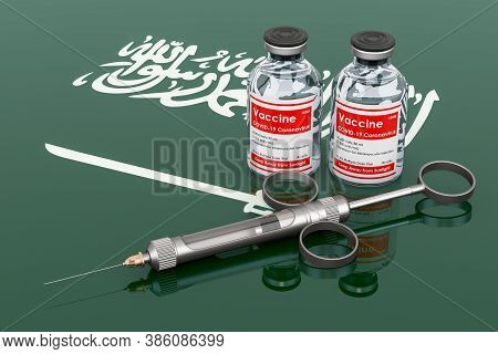 Vaccination In Saudi Arabia Concept. Vaccine Bottles With Syringe On The Saudi Arabian Flag, 3d Rend