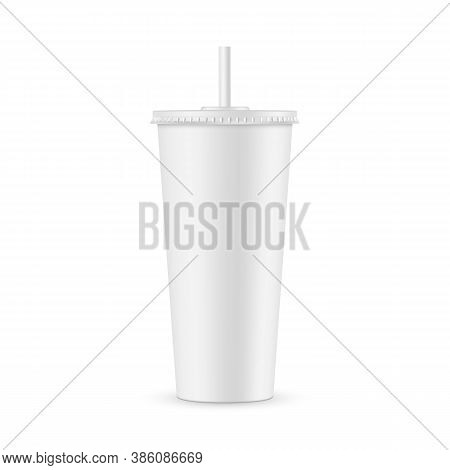 Tall Disposable Soda Cup Mockup With Straw Isolated On White Background. Vector Illustration