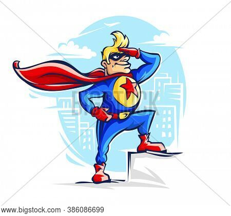 Brave superhero man in costume with red cloak and star on the chest for hero like captain America, a fantastic guardian of the city. Comics cartoon personage outline, isolated. 3D illustration.