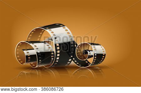 Movie film reel. Cinematography concept for online cinema. 3D illustration.