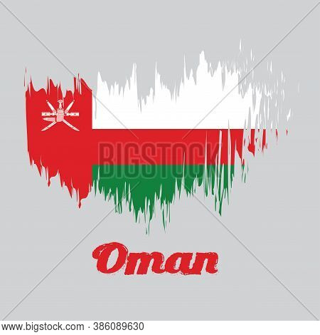 Brush Style Color Flag Of Oman, White Red And Green; With A Vertical Red Stripe, Charged With The Na