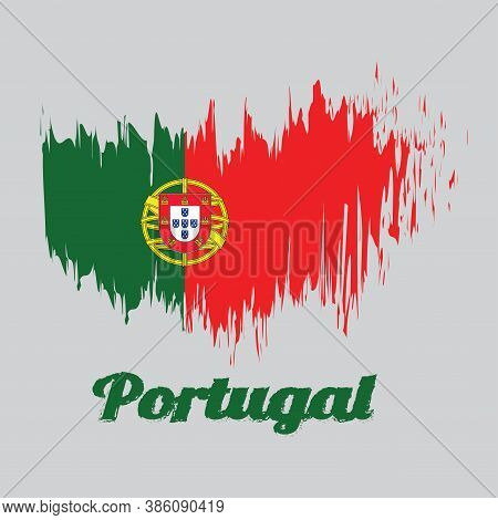 Brush Style Color Flag Of Portugal, 2:3 Vertically Striped Bicolor Of Green And Red, With Coat Of Ar