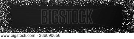 Random White Dots Christmas Background. Subtle Flying Snow Flakes And Stars On Black Background. Bre