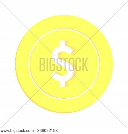 American Dollar Coin Isolated On White Background. Usd Gold Yellow Coin. Usa Metal Money. Mesmeric C