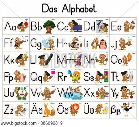 German Deutsch Abc Alphabet Set Cartoon Letters With Owl Character. Vector Illustration Isolated On