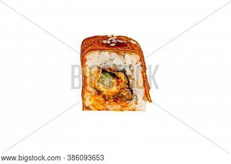 Japanese Maki Rolls. Tamago-yaki, Rice, Nori, Eel, Cucumber, Avocado, Hot Sauce, Sesame. For Menus.