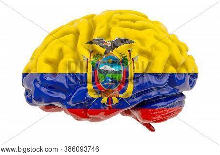 Human Brain With Ecuadorian Flag. Scientific Research And Education In Ecuador Concept, 3d Rendering