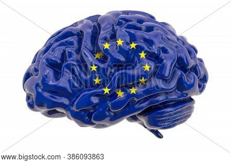Human Brain With The European Union Flag. Scientific Research And Education In The Eu Concept, 3d Re