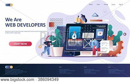 Web Development Flat Landing Page Template. Website Construct, Prototyping And Programming Web Banne