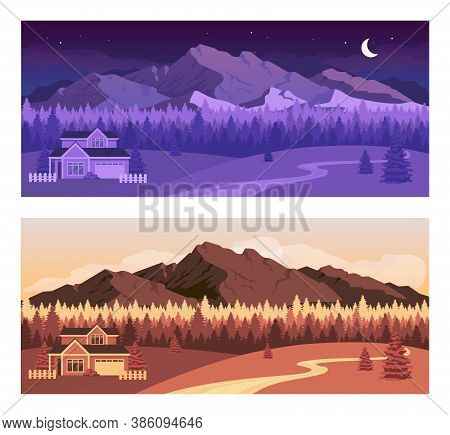 Day And Night Mountains Flat Color Vector Illustration Set. Residential House Near Nighttime Forest.