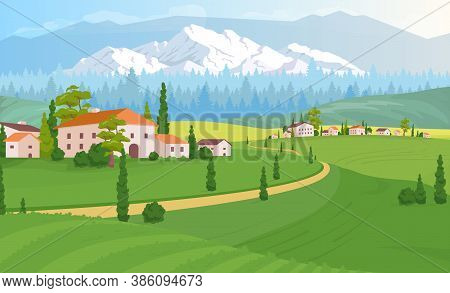 Rural Dwelling Scenery Flat Color Vector Illustration. Tuscany Land Near Forest. Buildings Near Wood