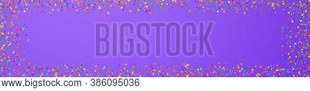 Festive Glamorous Confetti. Celebration Stars. Childish Bright Stars On Violet Background. Alive Fes