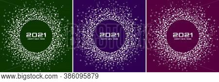 New Year 2021 Night Background Party Set. Greeting Cards. White Glitter Paper Confetti. Glistening B