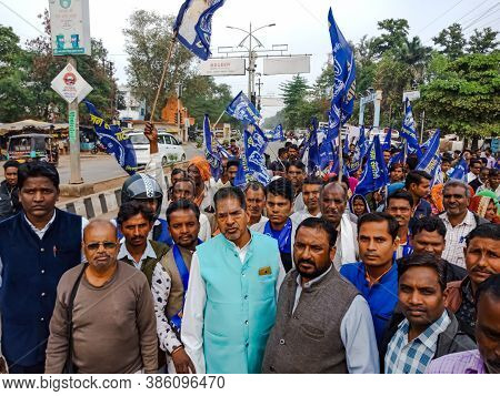 District Katni, India - December 24, 2019: Indian Village Male Groups Participation On Political Ral