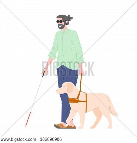 Disability Blind Person With Guide Dog. Disability Blind People Concept. Character Visually Impaired