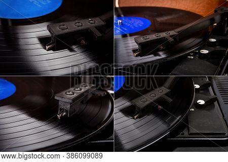 Collection Of Images With Turntable Needle On A Vinyl Record. Vintage Vinyl Record Player. Needle On