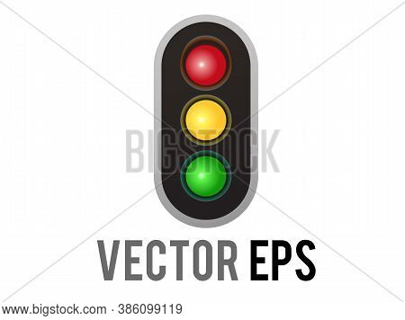Vector Vertical Up And Down Road Traffic Caution Light Signal Icon