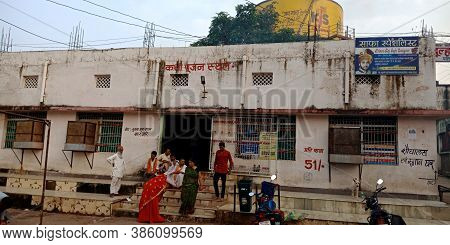 District Satna, India - September 13, 2019: Indian Village People Crowd On Story Worshiping Place At