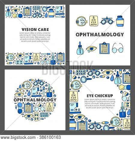 Set Of Cards With Lettering And Doodle Colored Ophthalmology Icons Including Runny Eye, Pipette Bott