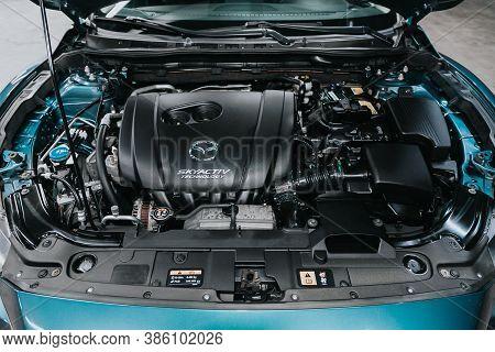 Novosibirsk, Russia - September 19, 2020: Mazda 6, Car Engine Close-up. Internal Combustion Engine,