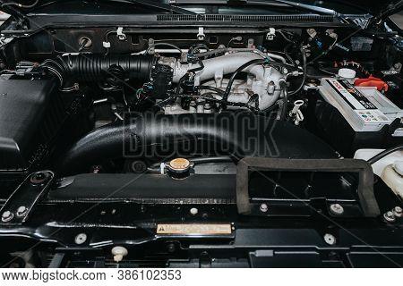Novosibirsk, Russia - September 19, 2020: Mitsubishi Pajero, Car Engine Close-up. Internal Combustio