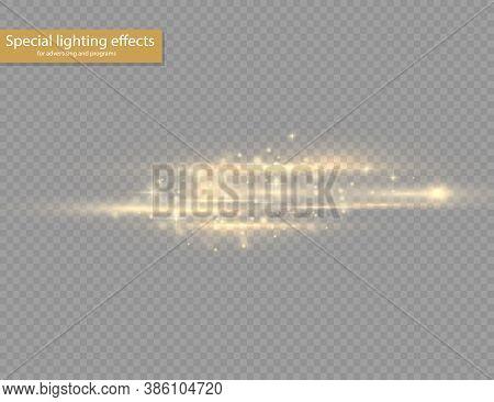 Flash Yellow Horizontal Lens Flares Pack, Laser Beams, Horizontal Light Rays, Beautiful Light Flare,