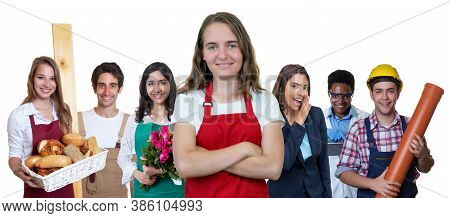 Young Waitress With Group Of International Apprentices Isolated On White Background For Cut Out