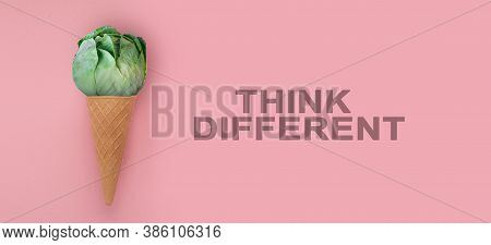 Brussels Sprout In Ice-cream Cone And Think Different Inscription, Over Pink Background, Illustratio