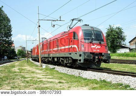 Ljubljana, Slovenia - June 1, 2008: Slovenian Railways (slovenske Zeleznice) Electric Locomotive Ser