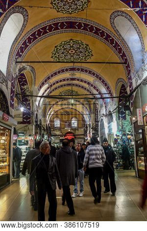 Istanbul, Turkey - December 30, 2009: Crowded Street In The Grand Bazaar During Rush Hour. The Grand