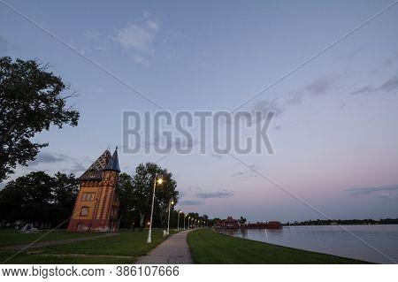 Panorama Of Palic Lake, Or Palicko Jezero, In Palic, Serbia, With The Velika Terasa, Or Grand Terrac