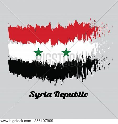 Brush Style Color Flag Of Syrian, A Horizontal Tricolor Of Red White And Black With Two Green Stars