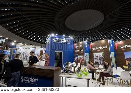 Belgrade, Serbia - February 24, 2019: Interior Of A Zepter Shop With Its Logo And People Pasisng In