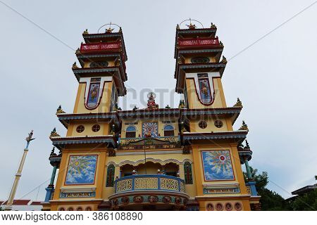 Hoi An, Vietnam, September 20, 2020: Balcony And Two Towers On The Main Facade Of The Cao Dai Taoist