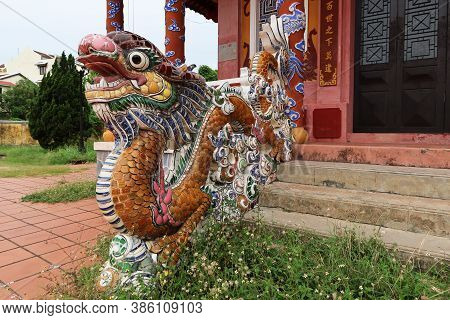 Hoi An, Vietnam, September 20, 2020: Dragon On The Access Stairs Of The Van Mieu Confucius Temple. H