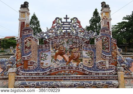 Hoi An, Vietnam, September 20, 2020: View From Inside The Colorful Decorated Wall In The Courtyard O