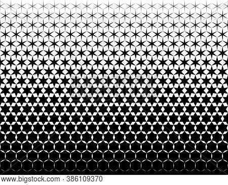 Geometric Pattern Of Black Hexagones And Stars On A White Background. Seamless In One Direction. Opt
