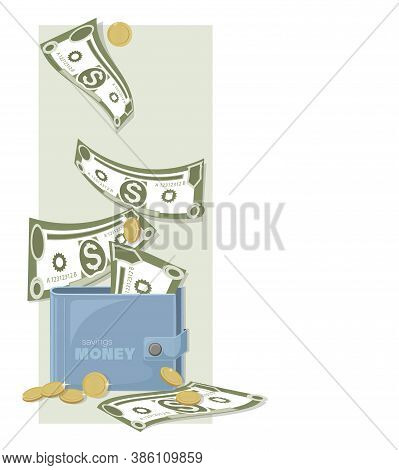 Dollars. Cash Wallet. Dollars Bills, Gold Coins. Falling Money On Money Background. American Bill