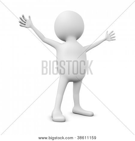 Abstract 3D white man with hands spread wide isolated on white.