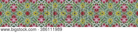Geometric Rug Pattern. Abstract Kaleidoscope Print. Seamless Tie Dye Rapport. Ikat Russia Motif. Blu