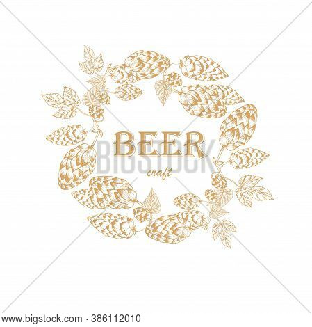 Beer Craft Label. Hop Plant Frame Background Outline On White Art Design Elements Stock Vector Illus